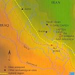 این نقشه بخشی از جنوب غربی ایران را نشان میدهد كه در آن چند جایگاه باستانی واقع شده و بر مبنای پژوهش تازه، این جایگاهها شاهد پیدایی دامداری كهن بودهاند.